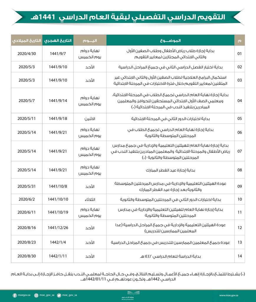التقويم الدراسي 1